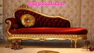 Classic Red Bedroom Chaise Lounge