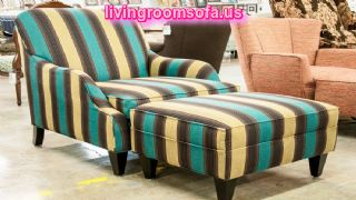 Colorful Accent Arm Chair With Ottoman