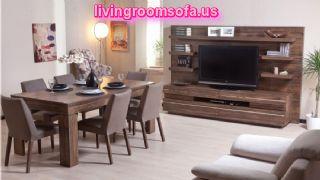 Dark Wooden Casual Dining Room Furniture Design