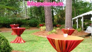 Exterior Red Fabric Banquet Cocktail Tables
