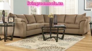 Gray Fabric Living Room L Shaped Sectionals
