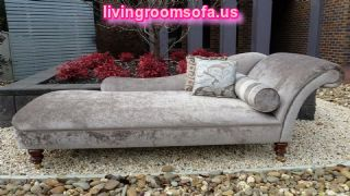 Gray Velvet Bedroom Chaise Lounge Design