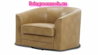 Leather Beige Swivel Chair For Living Room Picture