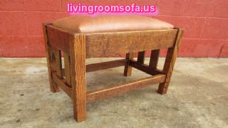 Leather Oak Antique Bench