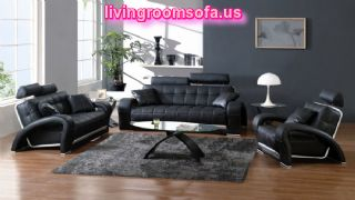 Modern Black Leather Sofa Set Amazing Living Room Design