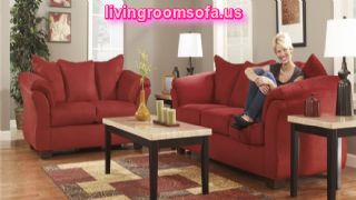 Modern Red Living Room Set Ashley Furniture