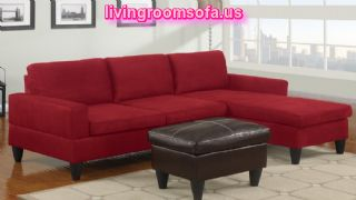 Modern Cherry Apartment Size Sectional Sofa