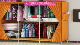 Orange Cheap Style Wardrobe Armoires Designs