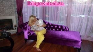 Purple Velvet Bedroom Chaise Lounge Design