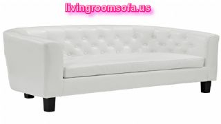 White Leather Affordable Loveseats Design