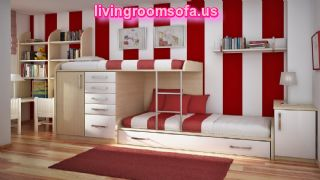 Alluring Tripped Red White Kids Bedroom Wall Design Mixed Vogue Bunk Beds With Storage