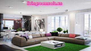 Awesome Brwon Leather Sectional Sofa For Apartement