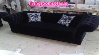 Beautiful Black Chesterfield Couch For Living Room Design Idea