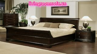 Bedroom Great Black Wooden Bed Frames With Cute Pillows