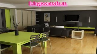 Black And Green Livingroom Idea Corner Sofa Chairs Wall Tv Unit
