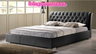 Black Color Letaher Sweet Bed Frame
