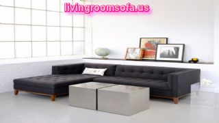 Black Fabric Apartment Sectional Sofa L Shaped With Tufted Chaise
