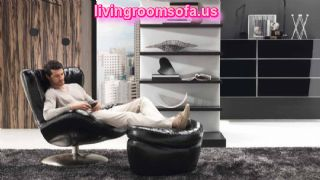 Black Living Room Furniture Chair Ottoman Wall Unit Carpet