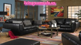 Black Living Room Furniture Sets Leather Sofa