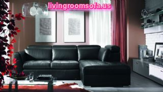 Classic Black Leather Sofa L Shaped