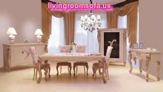 Classic,white And Pink Contemporary Dining Room Tables