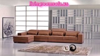 Contemporary Brown Microfiber Sectional Sofa
