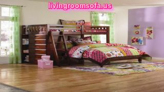 Contemporary Kids Furniture With Purple Wall