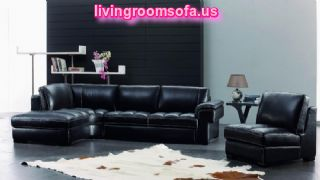 Contemporary Leather Furniture With Black Sofa Small Table Books Lamp Black Stained Wall Ideas Flower Small Storage Cowhide Rug And Best Flooring