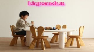 Cool Ecological And Funny Furniture For Kids Bedroom By Hiromatsu With Bright Wooden Table And Chair