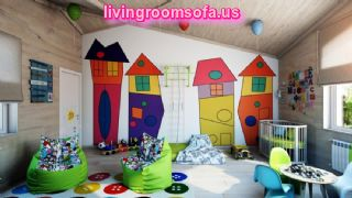 Cool Green Bean Bag Chairs For Colorful Kids Room With Wooden Paneling Also Unique Baby Nursery And Beautiful Wall Painting