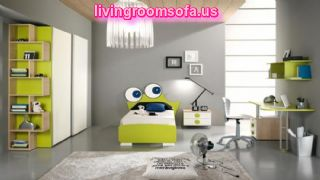 Cool Kids Room Color Ideas With An Adorable White Ceiling Lamp And Fantastic Green Lime Furniture