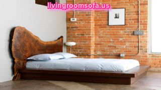 Cool Woodes Bed Frames With Brick Walls