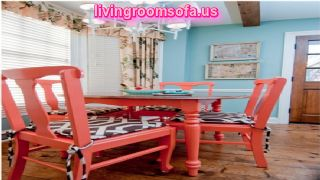 Wooden Coral Painted Chairs