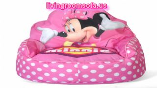 Cute Kids Room Chairs With Minnie Mouse Character And White Polka Dot Motifs Also Pink Background Color