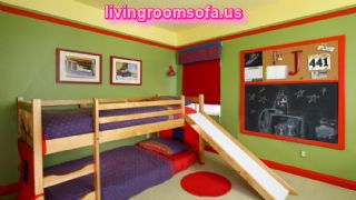 Dazzling Boy Bedroom Ideas Applying Greean And Yellow Paint Color Furnished With Twin Bunk Bed On Wooden Platform