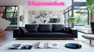Deluxe Design Black Leather Sofa White Living Room
