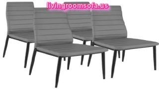 Four Gray Leather Chaises Design Ideas