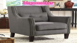 Grey Fabric Accent Chair With Nailhead Trims