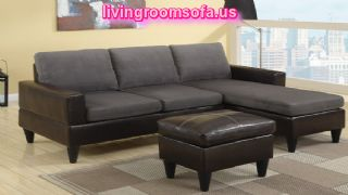 Grey Microfiber Two Tone Apartment Size Sectional