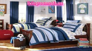 Inspiring White Blue Boy Bedroom Ideas With Twin Bed On Dark Brown Platform