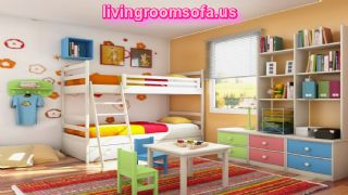 Kids Bedroom Bunk Bed Playroom With Bookcase Desk And Small Bench