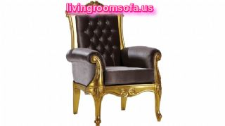 King Design Velvet And Brown Chairs For Living Room