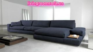 L Shaped Black Or Dark Gray Sofas For Living Room
