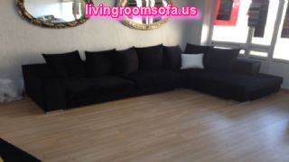 L Shaped Black Sofa Modern Living Room Apartment Size