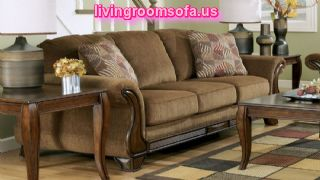 Light Brown Facric Sofa And Oak Cofie Table Design