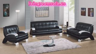 Lovely Deluxe Black Leather Living Room Idea Furniture Set