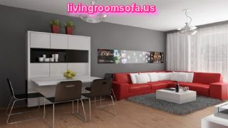 Lovely Red Sectional Sofa With Modern Grey And White Interior Design Plus Spiral Pendant Lamps Idea