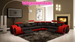 Minsk Black Red Bonded Leather Sectional Sofa By True Contemporarypng