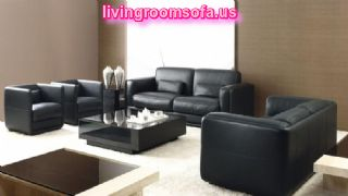 Modern Black Leather Sofa Set For Living Room With Black Coffe Table