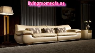 Modern And Luxury Cream Leather Sofa With Solid Zebra Wood